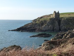 Looking back to Dunskey Castle