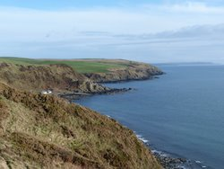 View from path to Morroch Bay with Mull of Galloway in distance